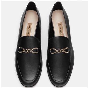 Zara Black Leather Slip On Loafer Gold Chain NEW
